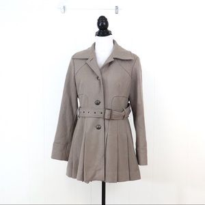 Guess winter coat pleated pea coat wool blend